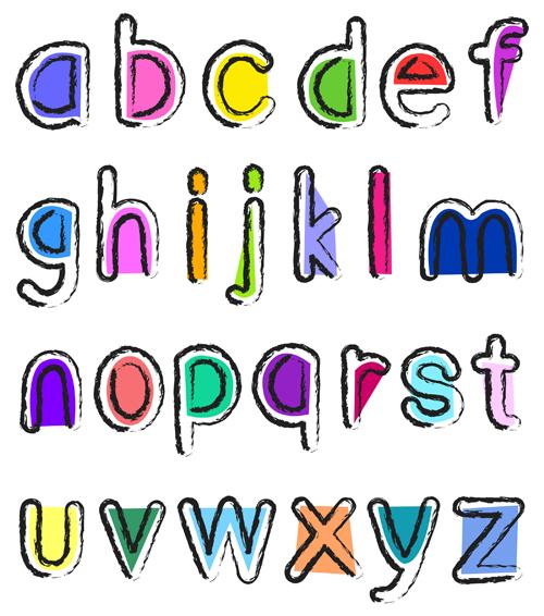 Artistic small alphabet vector material