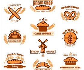 Bakery and pastry shop labels vector 01