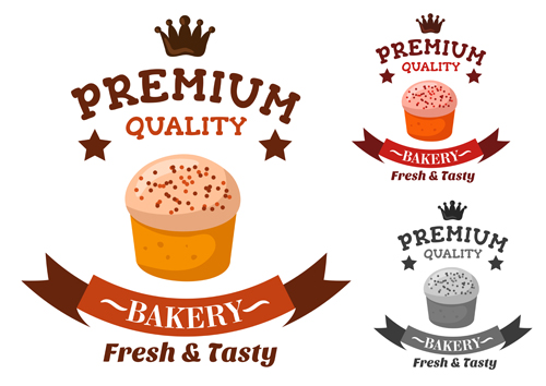 Bakery and pastry shop labels vector 03