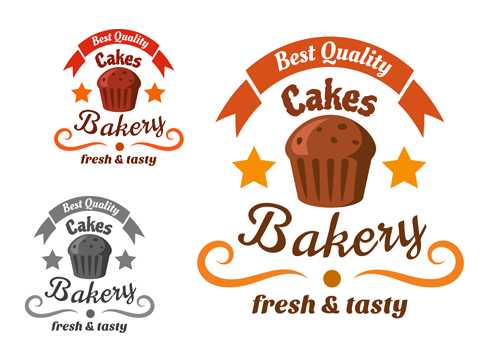 Bakery and pastry shop labels vector 04