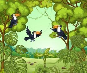 Birds with jungle cartoon vector