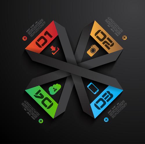 Black Infographics creative vector set 03