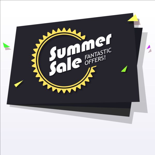 Black with yellow summer sale background vector 01