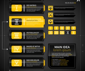 Black with yellow tech infographic vector 01