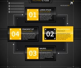 Black with yellow tech infographic vector 02