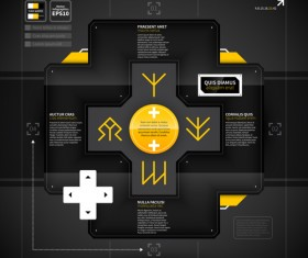 Black with yellow tech infographic vector 03