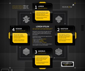 Black with yellow tech infographic vector 04