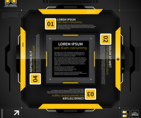 Black with yellow tech infographic vector 05