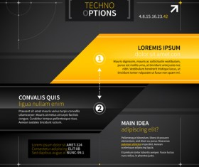 Black with yellow tech infographic vector 06