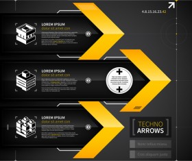 Black with yellow tech infographic vector 07