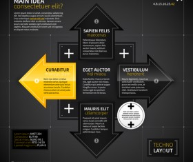Black with yellow tech infographic vector 08
