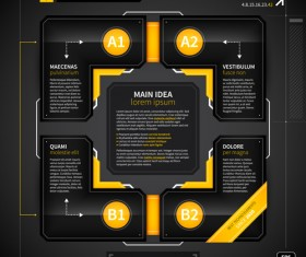 Black with yellow tech infographic vector 09