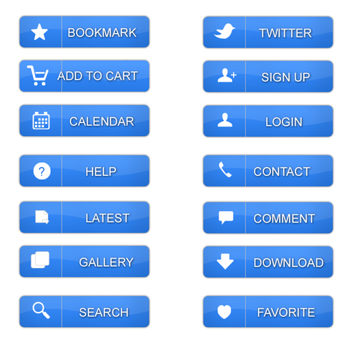 Blue Website Buttons set - Buttons PSD File, Web Elements PSD File ...