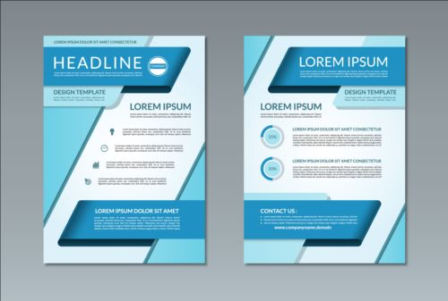 Blue styles flyer and brochure cover vector 02 - Vector Cover free ...