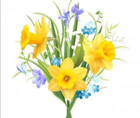Blue with yellow flower beautiful vector