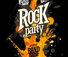 Blur guitar rock party poster black vector