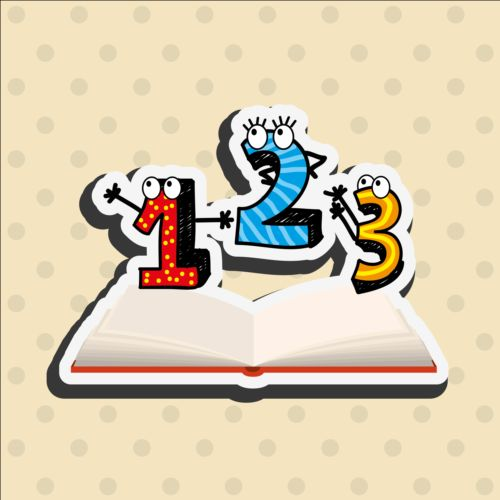 Book and funny number vector sticker