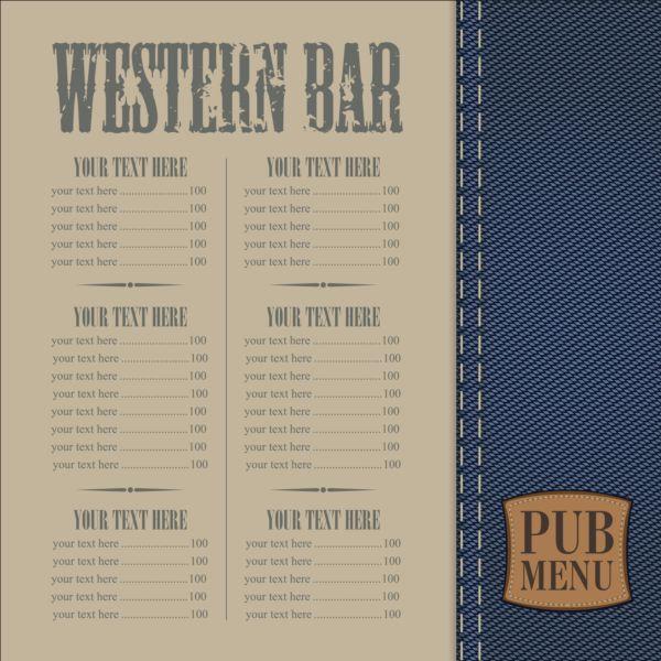 Brewery menu with denim textures vector 02