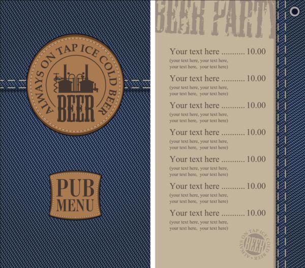 Brewery menu with denim textures vector 03