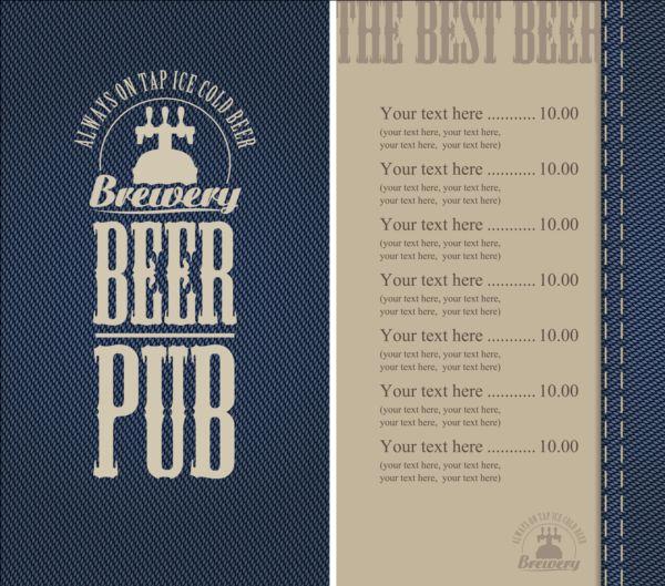Brewery menu with denim textures vector 06
