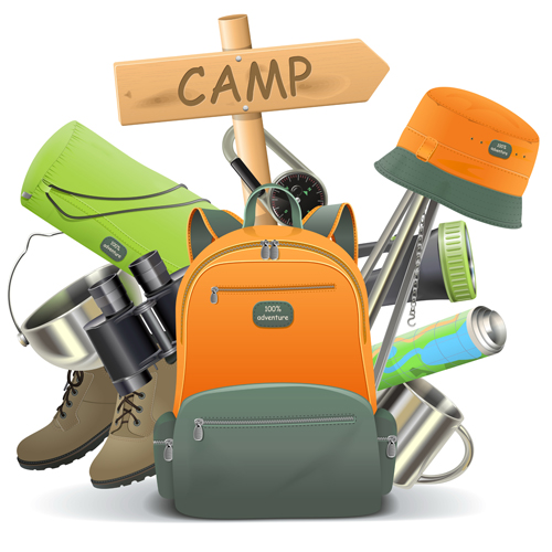 Camping with backpack vector - Vector Life free download