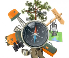 Camping with compass vector