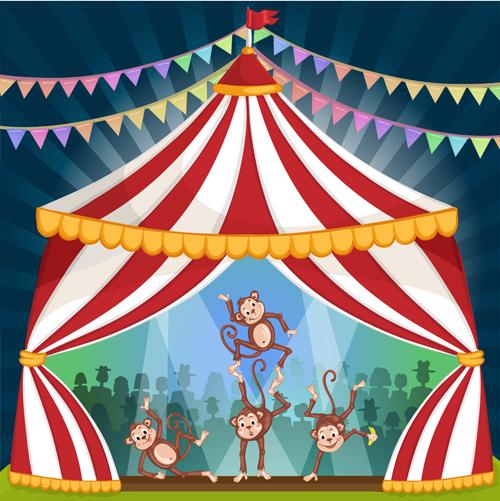 Cartoon circus tent and animals design vector 07 - Vector ...