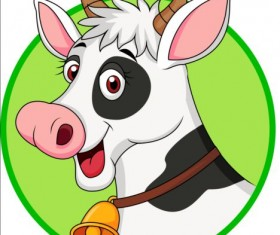 Cartoon cow with bells vector