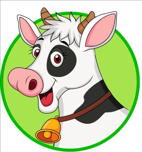 Cartoon cow with bells vector