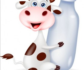 Cartoon cow with bottle vector