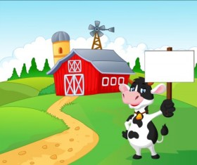 Cartoon cow with farm vectors 01
