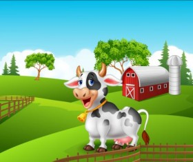 Cartoon cow with farm vectors 02