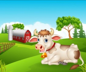 Cartoon cow with farm vectors 03