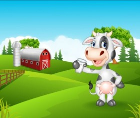 Cartoon cow with farm vectors 04