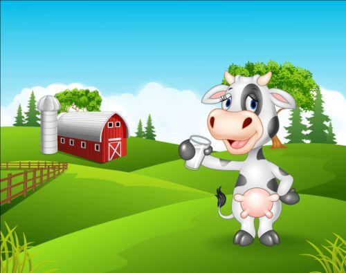 Cartoon cow with farm vectors 04