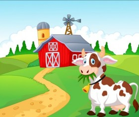 Cartoon cow with farm vectors 05