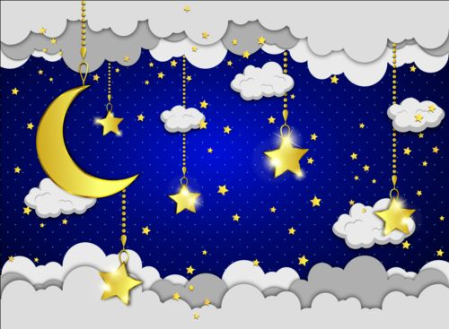 Cartoon good night background vector 01 free download