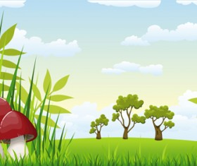 Cartoon mushrooms with nature scenery vector 01