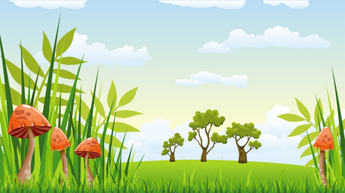 Cartoon Mushrooms With Nature Scenery Vector 02 Vector