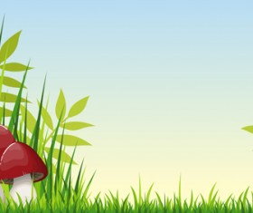 Cartoon mushrooms with nature scenery vector 03