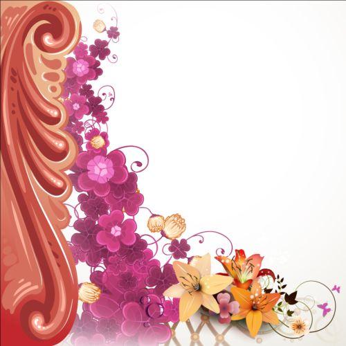 Classical flower art background vector 06