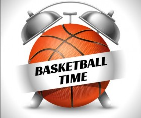 Clock with basketball vector