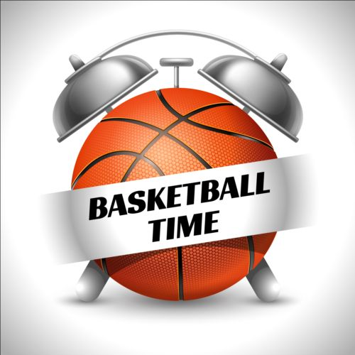 Clock with basketball vector - Vector Sport free download