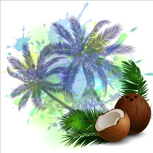 Coconut And Palm Trees Background Vector 01 Vector