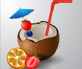 Coconut drink vector material 01