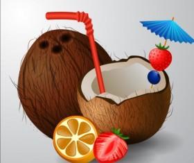 Coconut drink vector material 02