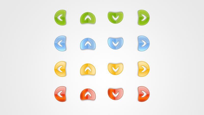 Colored Navigation Arrows PSD Icons