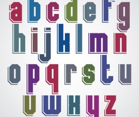 Colored flat alphabet vector 01
