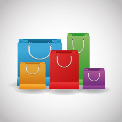 Colored shopping bags illustration vector 01