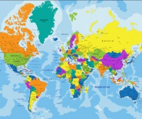 Colored world map creative material 01